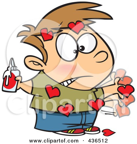 Royalty-Free (RF) Clipart Illustration of a Messy Boy With Valentine Hearts Glued All Over His Body by toonaday