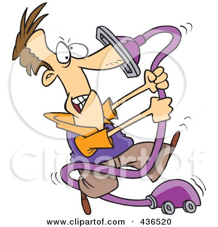 Royalty-Free (RF) Clipart Illustration of a Cartoon Man With His Nose Stuck In A Vacuum Cleaner by toonaday