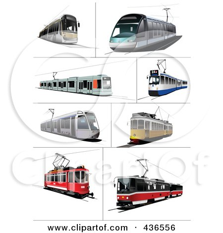 Royalty-Free (RF) Clipart Illustration of a Digital Collage Of Trams by leonid