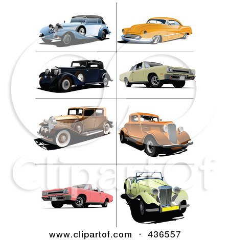 Royalty-Free (RF) Clipart Illustration of a Digital Collage Of Vintage Cars - 2 by leonid