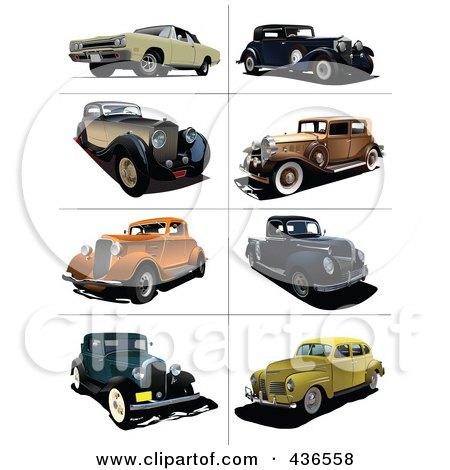 Royalty-Free (RF) Clipart Illustration of a Digital Collage Of Vintage Cars - 1 by leonid