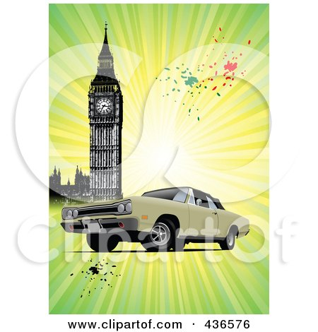 Royalty-Free (RF) Clipart Illustration of a Classic Car Near Big Ben Over Grungy Green Rays by leonid