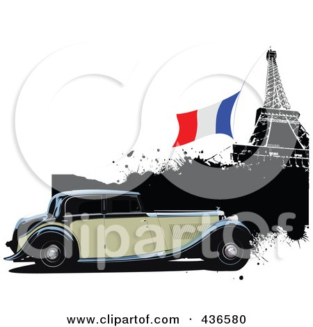 Royalty-Free (RF) Clipart Illustration of a Vintage Car In Paris - 3 by leonid