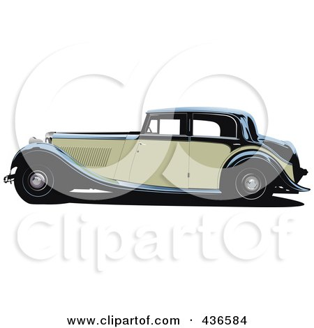 Royalty-Free (RF) Clipart Illustration of a Vintage Car - 1 by leonid