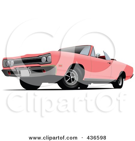 Royalty-Free (RF) Clipart Illustration of a Pink Classic Convertible Car by leonid
