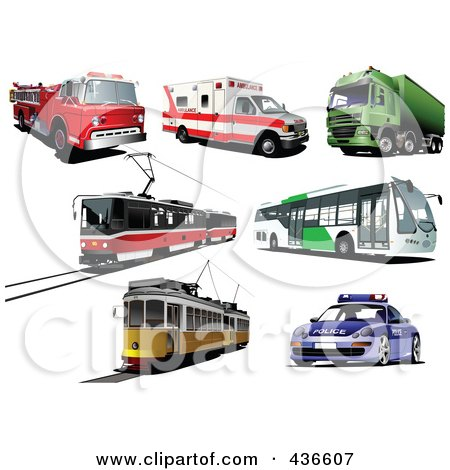 Royalty-Free (RF) Clipart Illustration of a Digital Collage Of Buses, Ambulances, Fire Trucks, Big Rigs And Trams by leonid