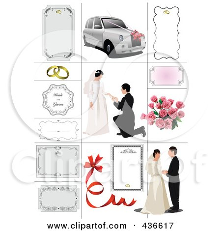 Digital collage of wedding couples and frames posters art prints