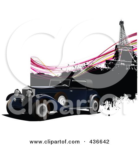 Royalty-Free (RF) Clipart Illustration of a Vintage Car In Paris - 1 by leonid