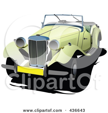 Royalty-Free (RF) Clipart Illustration of a Vintage Car - 6 by leonid