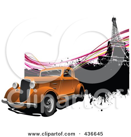 Royalty-Free (RF) Clipart Illustration of a Vintage Car In Paris - 2 by leonid