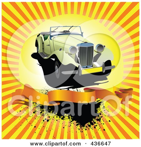 Royalty-Free (RF) Clipart Illustration of a Vintage Car With A Blank Banner Over Grungy Orange Rays by leonid