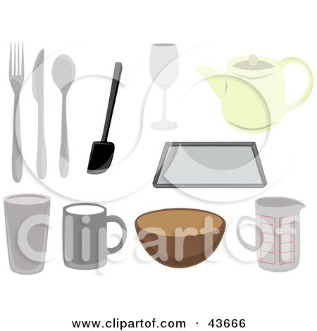 Royalty-free clipart picture of a collage of kitchen utensils,