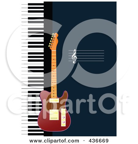 Royalty-Free (RF) Clipart Illustration of a Guitar Background by leonid
