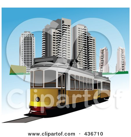 Royalty-Free (RF) Clipart Illustration of a City Tram by leonid