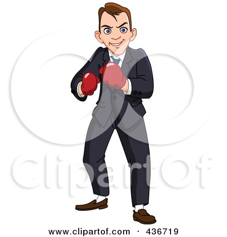 Royalty-Free (RF) Clipart Illustration of a Businessman Wearing Boxing Gloves by yayayoyo