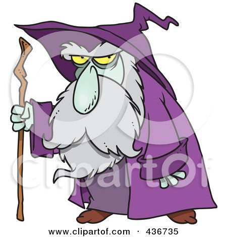 Royalty-Free (RF) Clipart Illustration of an Old Wizard Using His Cane by toonaday