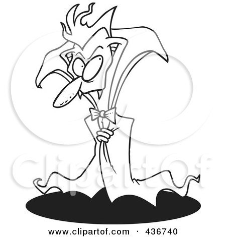 Royalty-Free (RF) Clipart Illustration of a Line Art Design Of A Creepy Old Vampire by toonaday