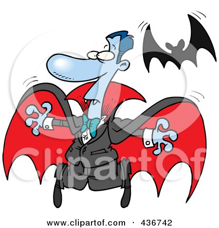Royalty-Free (RF) Clipart Illustration of a Vampire And Flying Bat by toonaday