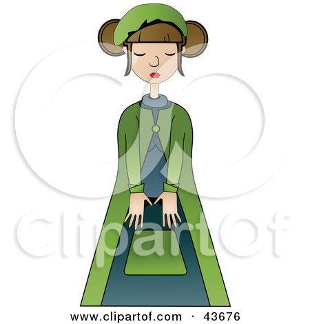 Clipart Illustration of a Pretty French Woman Wearing A Green And Blue Outfit by mheld