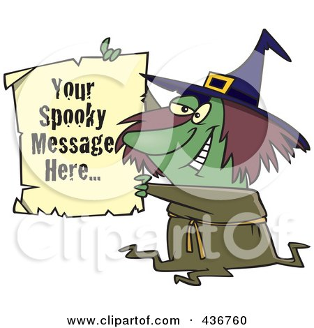 Royalty-Free (RF) Clipart Illustration of a Witch Holding Up A Piece Of Paper With Sample Text by toonaday