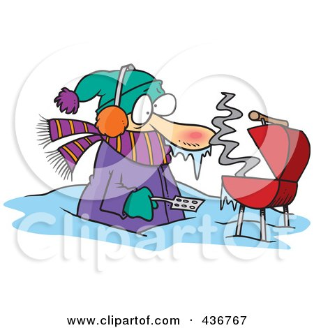 Royalty-Free (RF) Clipart Illustration of a Cold Man Barbequeing Waist Deep In Snow by toonaday