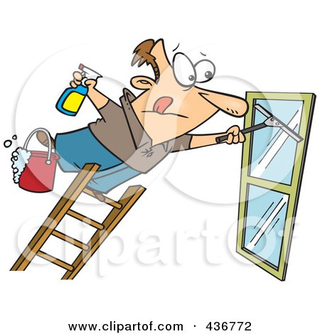 Royalty-Free (RF) Clipart Illustration of a Window Cleaner Leaning Far Over A Ladder by toonaday