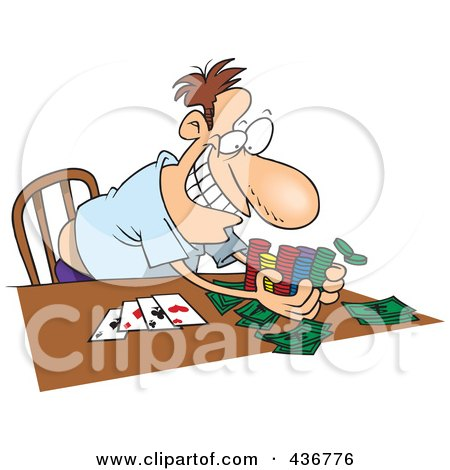 Royalty-Free (RF) Clipart Illustration of a Man Taking His Poker Winnings by toonaday