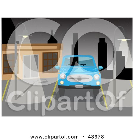 Blue Car Parked In A Deserted City Parking Lot Under Night Time Lights Posters, Art Prints