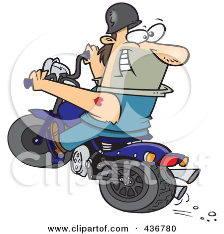 Royalty-Free (RF) Clipart Illustration of a Biker Riding A Blue Hog And Looking Back by toonaday