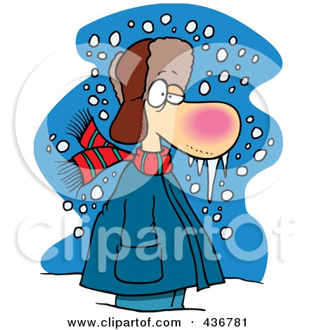 Royalty-Free (RF) Clipart Illustration of a Cold Winter Man Standing In The Snow With Frozen Snot by toonaday