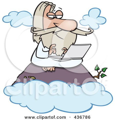 Royalty-Free (RF) Clipart Illustration of a Wise Man Using A Laptop On A Mountain by toonaday