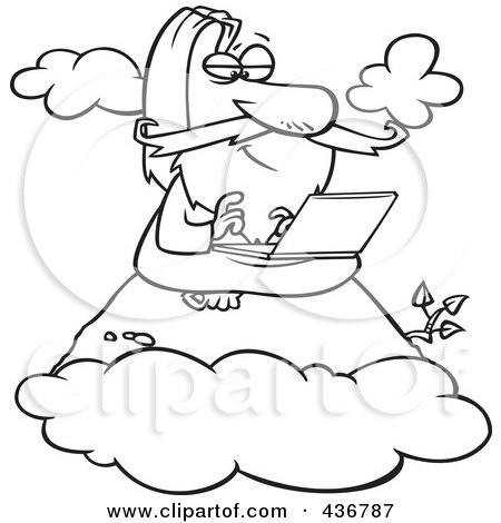 Royalty-Free (RF) Clipart Illustration of a Line Art Design Of A Wise Man Using A Laptop On A Mountain by toonaday