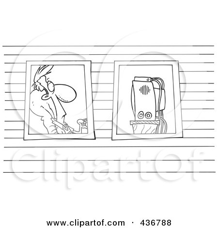 Royalty-Free (RF) Clipart Illustration of a Line Art Design Of A View Of A Man Watching Television Through Windows by toonaday