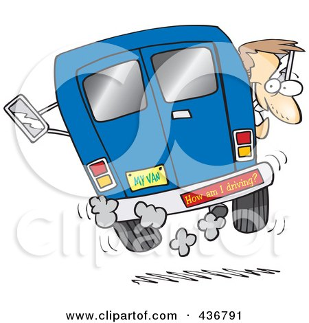 Royalty-Free (RF) Clipart Illustration of a Crazy Driver With A How Am I Driving Bumper Sticker by toonaday