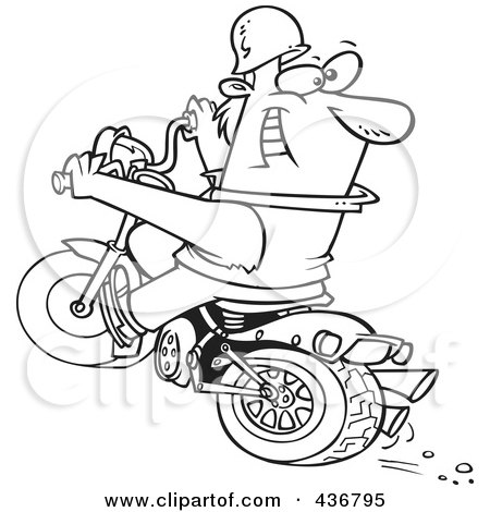 Royalty-Free (RF) Clipart Illustration of a Line Art Design Of A Biker Riding A Blue Hog And Looking Back by toonaday