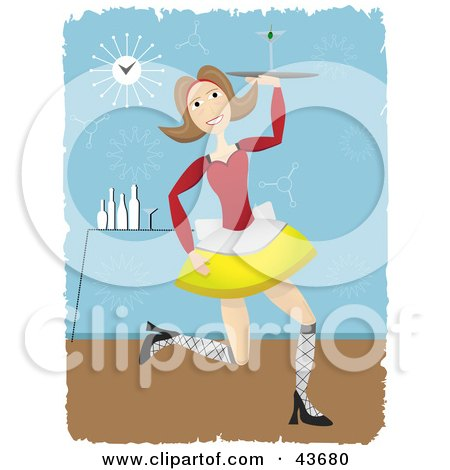 Clipart Illustration of a Happy Female Cocktail Waitress Serving A Cocktail In A Bar by mheld