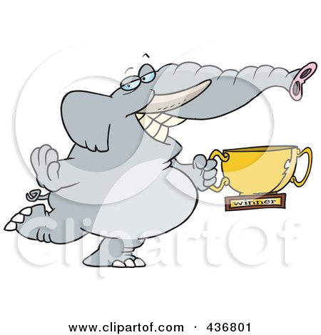 Royalty-Free (RF) Clipart Illustration of a Successful Elephant Holding A Trophy Cup by toonaday