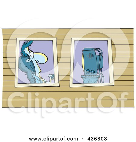 Royalty-Free (RF) Clipart Illustration of a View Of A Man Watching Television Through Windows by toonaday