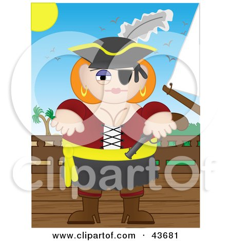 Clipart Illustration of a Busty Female Pirate Holding A Pistil And Standing On A Ship's Deck by mheld
