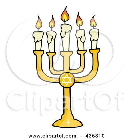 Royalty-Free (RF) Clipart Illustration of a Golden Menorah by Hit Toon