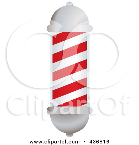 3d White And Red Barbers Pole Posters, Art Prints