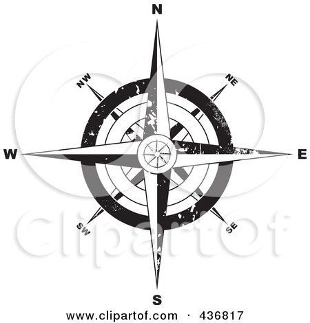 Royalty-Free (RF) Clipart Illustration of a Black And White Grungy Compass by michaeltravers