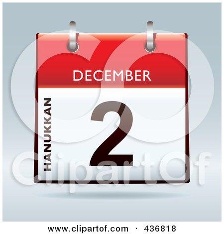 Royalty-Free (RF) Clipart Illustration of a 3d December 2nd, Hanukkan Calendar by michaeltravers