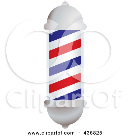 3d White, Blue And Red Barbers Pole Posters, Art Prints
