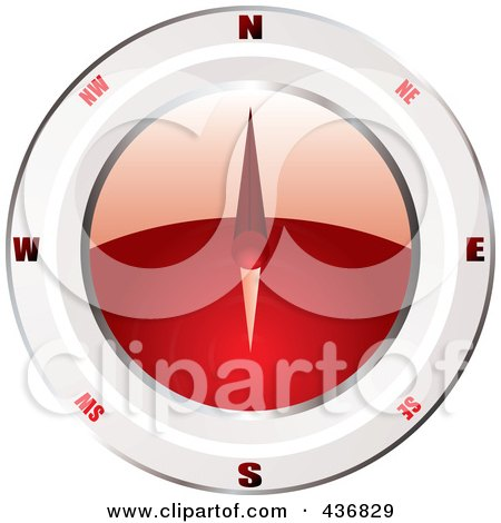 Royalty-Free (RF) Clipart Illustration of a Shiny 3d Red And White Compass by michaeltravers