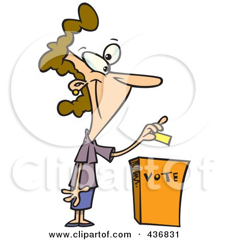 Royalty-Free (RF) Clipart Illustration of a Cartoon Woman Putting Her Ballot Into A Vote Box by toonaday