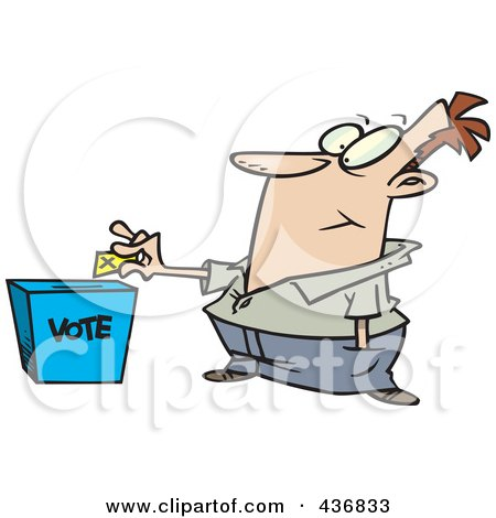Royalty-Free (RF) Clipart Illustration of a  Cartoon Man Putting His Ballot Into A Vote Box by toonaday