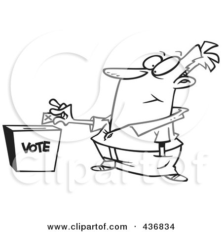 Royalty-Free (RF) Clipart Illustration of a Line Art Design Of A Man Putting His Ballot Into A Vote Box by toonaday