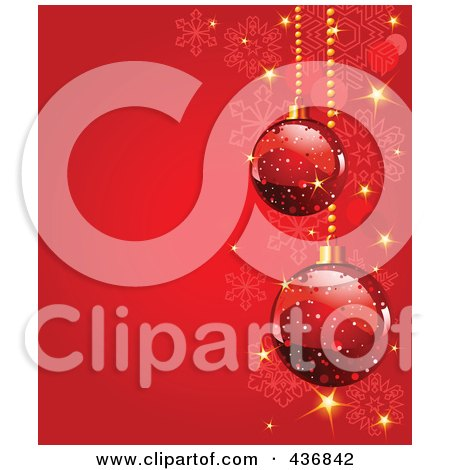 Royalty-Free (RF) Clipart Illustration of a Red Snowflake Background With Red Christmas Baubles And Sparkles by Pushkin