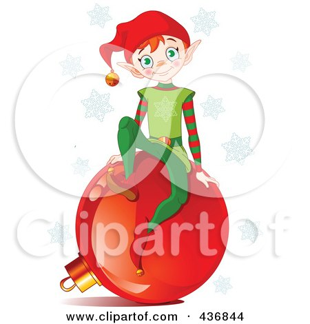 Royalty-Free (RF) Clipart Illustration of a Happy Christmas Elf Sitting On A Red Ornament, With Blue Snowflakes by Pushkin